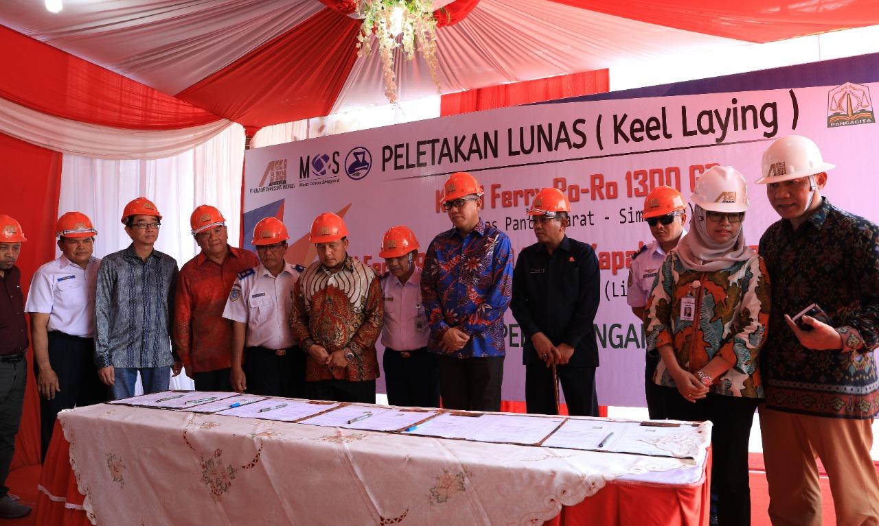 """""""Keel Laying"""" peletakan lunas pembangunan 3 Kapal Ro-Ro Pemerintah Aceh di Galangan Madura, 21 Okt 2019"""